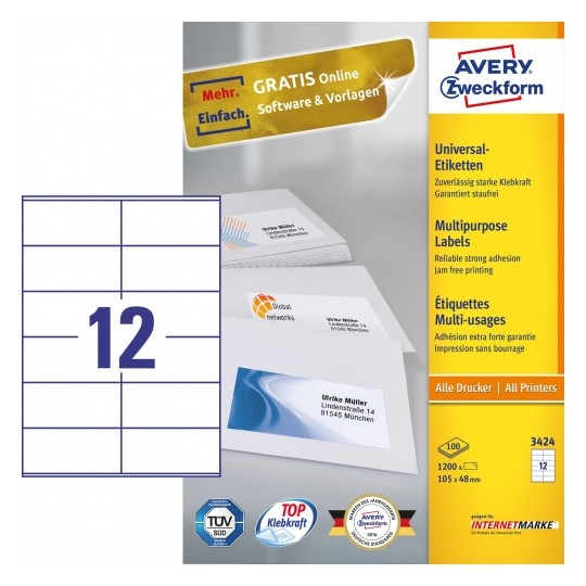 Avery Multipurpose General-use Labels with ultra grip, 105x48mm Image