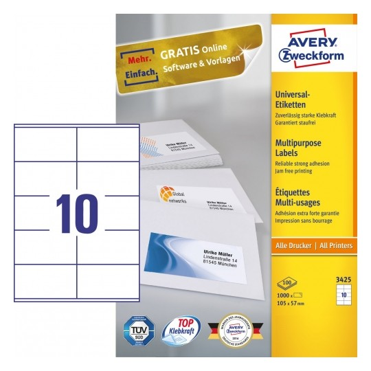 Avery Multipurpose General-use Labels with ultra grip, 105x57mm Image