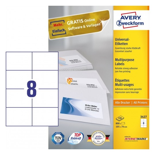 Avery Multipurpose General-use Labels with ultra grip, 105x74mm Image