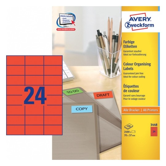 Avery Coloured Labels 70x37mm Red Image