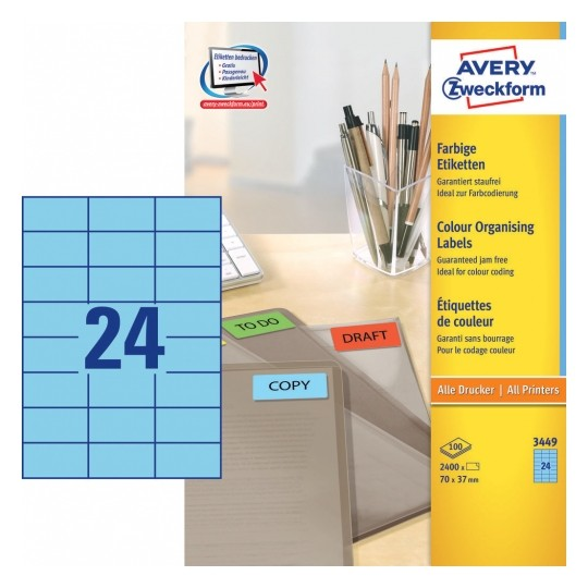 Avery Coloured Labels 70x37mm Blue Image