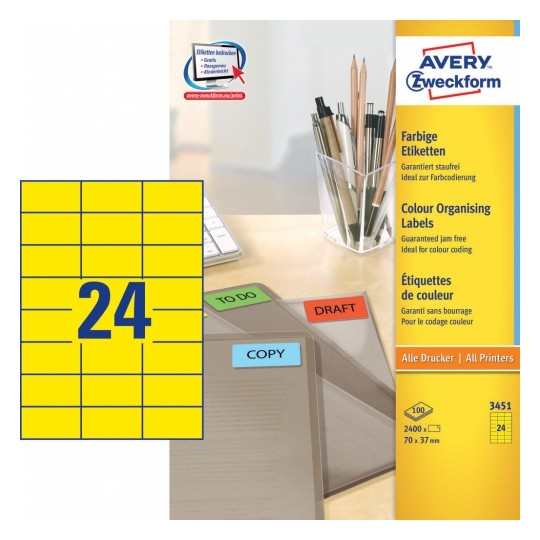 Avery Coloured Labels 70x37mm Yellow Image