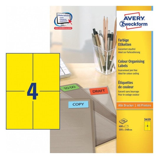Avery Coloured Labels 105x148mm Yellow Image