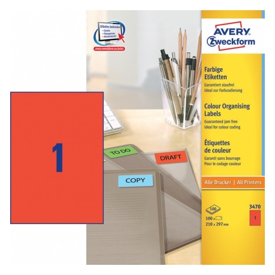 Avery Coloured Labels 210x297mm Red Image