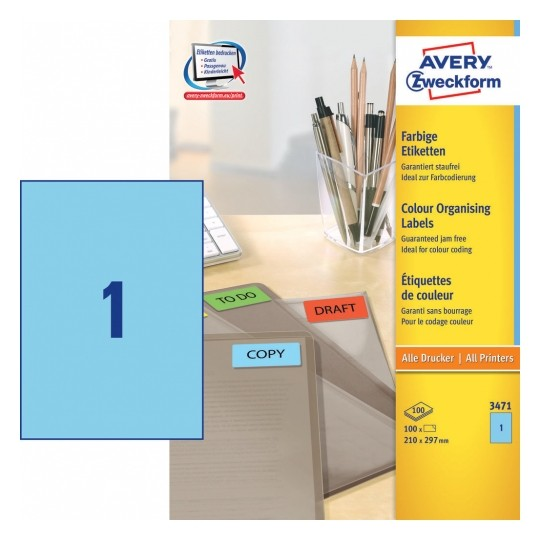 Avery Coloured Labels 210x297mm Blue Image
