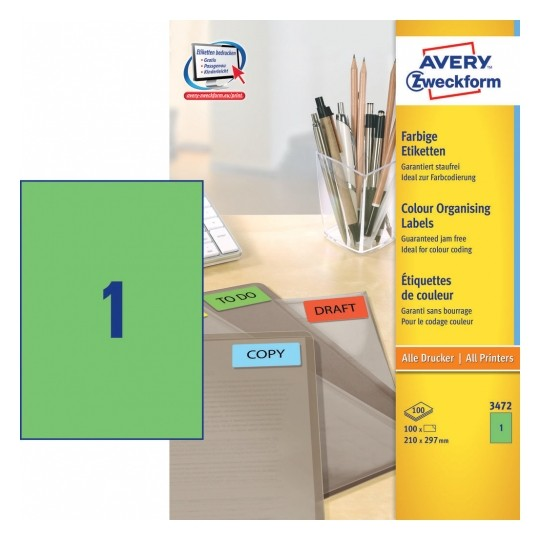 Avery Coloured Labels 210x297mm Green Image