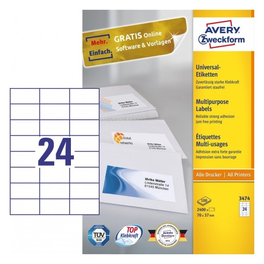 Avery Multipurpose General-use Labels with ultra grip, 70x37mm Image