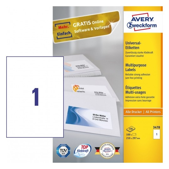 Avery Multipurpose General-use Labels with ultra grip, 210x297mm Image