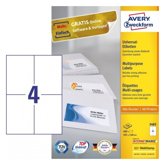 Avery Multipurpose General-use Labels with ultra grip, 105x148mm Image