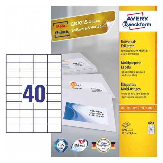 Avery Multipurpose General-use Labels with ultra grip, 52.5x29.7mm Image
