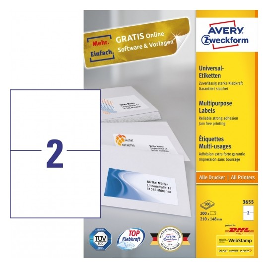 Avery Multipurpose General-use Labels with ultra grip, 210x148mm Image