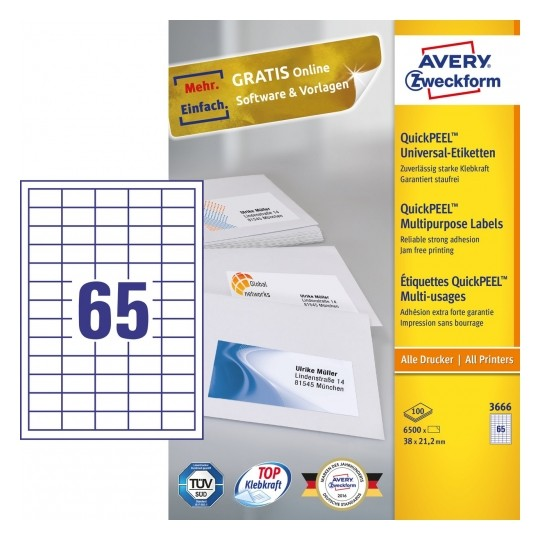 Avery Multipurpose General-use Labels with ultra grip, 38x21.2mm Image