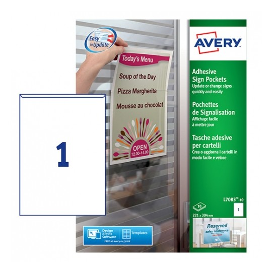 Avery Repositionable Adhesive Sign Pockets 221x304mm Image