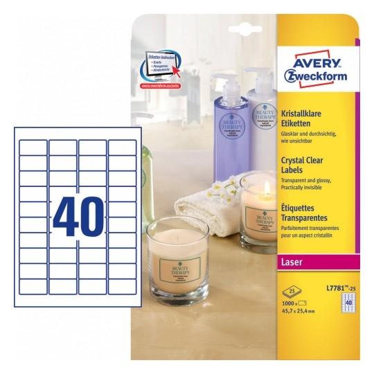 Avery Crystal Clear Labels 45.7x25.4mm Image