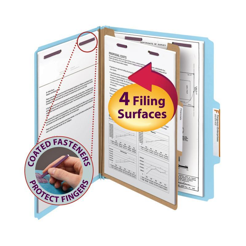 Smead Pressboard Classification Folder with Safe SHIELD® Fasteners 1 Divider 2 Inch Expansion Blue Image