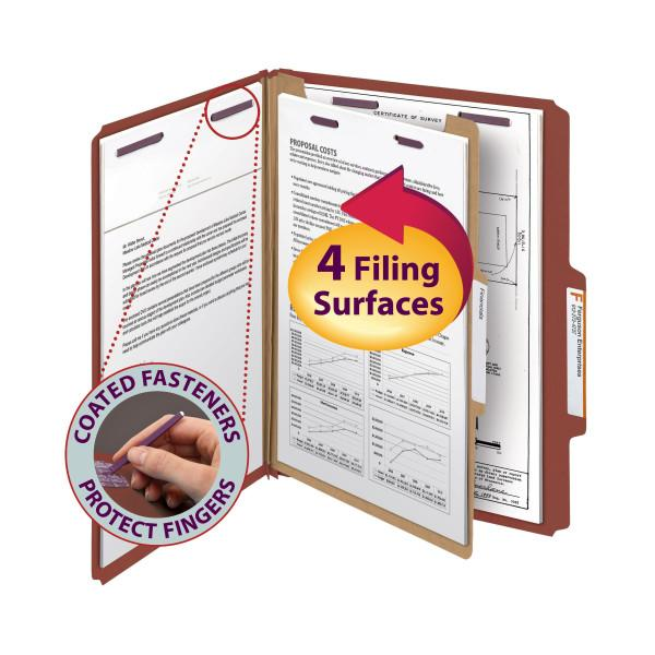 Smead Pressboard Classification File Folder with Safe SHIELD® Fasteners 1 Divider 2 Inch Expansion Red Image