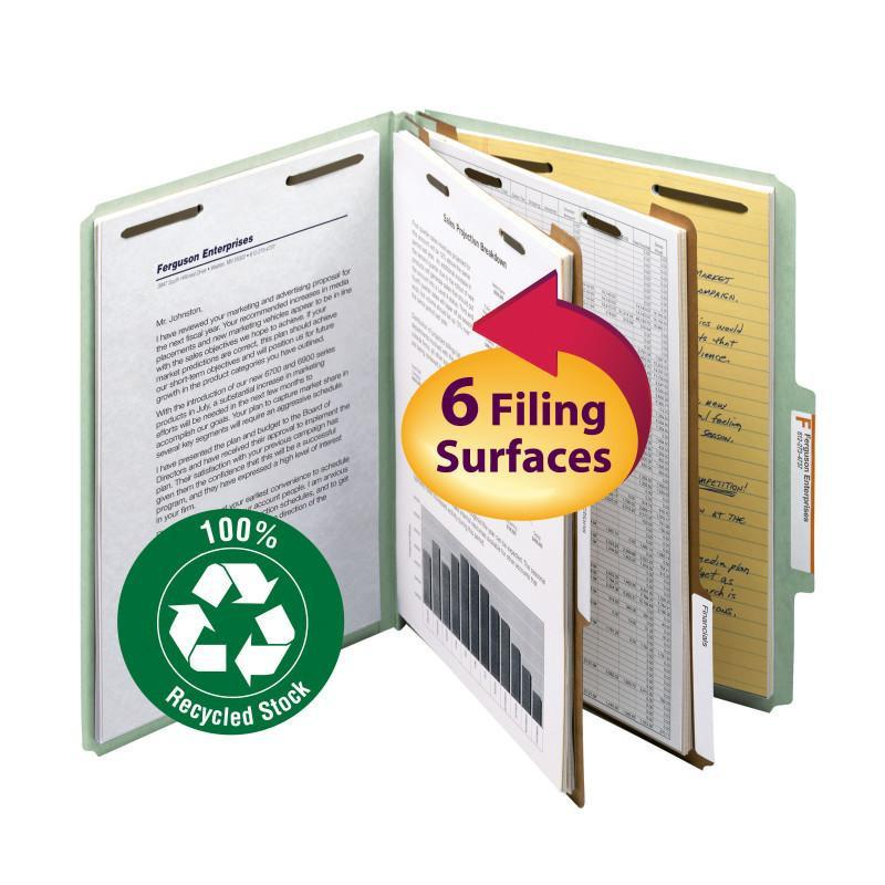 Smead 100% Recycled Pressboard Classification File Folder 2 Dividers 2 inch Expansion Green Image