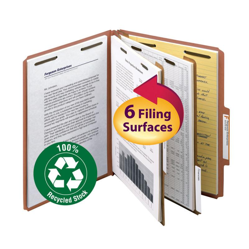 Smead 100% Recycled Pressboard Classification Folder 2 Dividers 2 inch Expansion Red Image