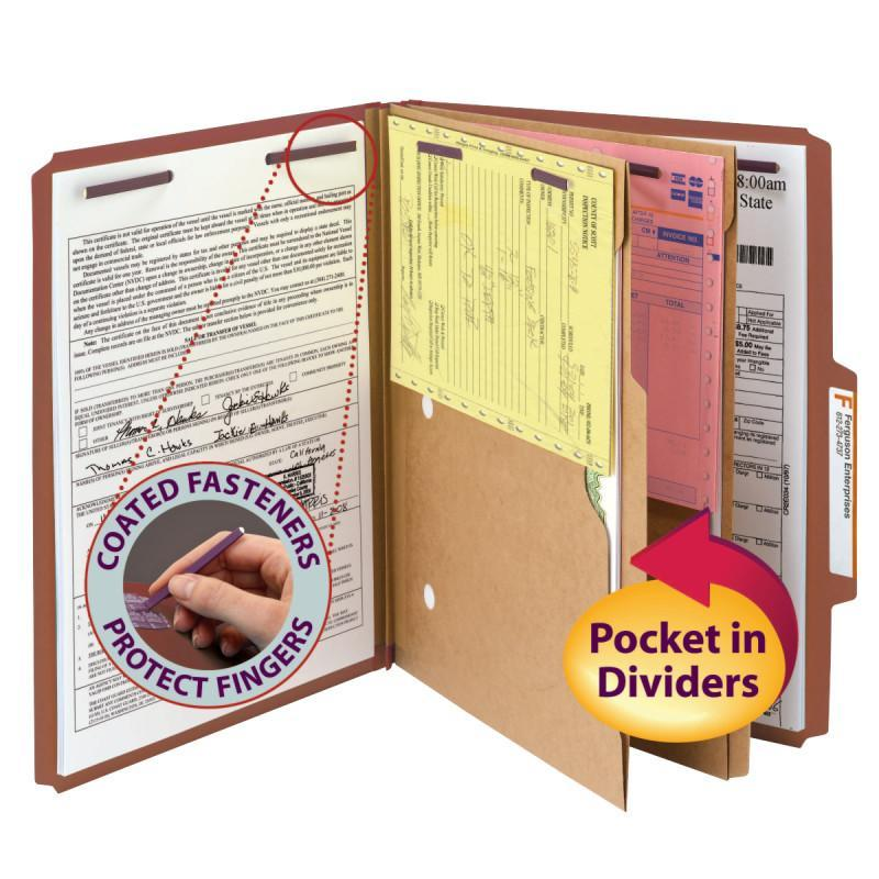 Smead Pressboard Classification Folder with Pocket Divider and Safe SHIELD® Fasteners 2 Dividers 2 inch Expansion Red Image