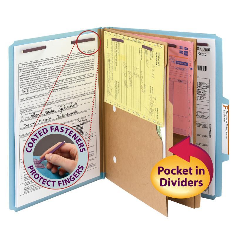 Smead Pressboard Classification Folder with Pocket Divider and Safe SHIELD® Fasteners 2 Dividers 2 inch Expansion Blue Image