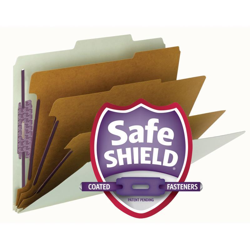 Smead Pressboard Classification File Folder with Safe SHIELD® Fasteners 3 Dividers 3 Inch Expansion Green Image