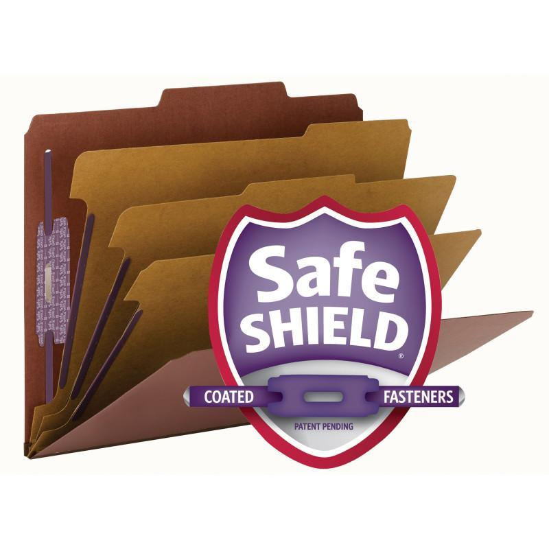 Smead Pressboard Classification File Folder with Safe SHIELD® Fasteners 3 Dividers 3 inch Expansion Red Image