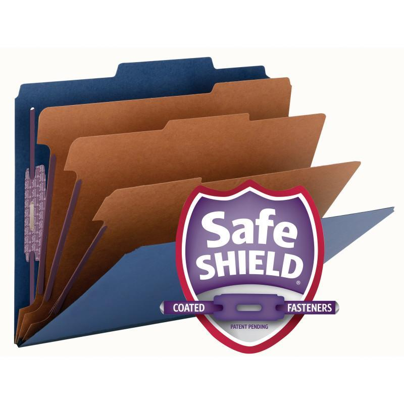 Smead Pressboard Classification File Folder with Safe SHIELD® Fasteners, 3 Dividers, 3 inch Expansion Dark Blue Image