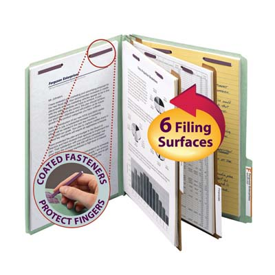 Smead Pressboard Classification File Folder with Safe SHIELD® Fasteners 2 Dividers, 2 inch Expansion Green Image