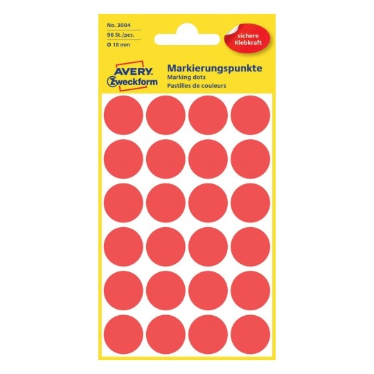 Avery Dot stickers Ø 18 mm, Red Image