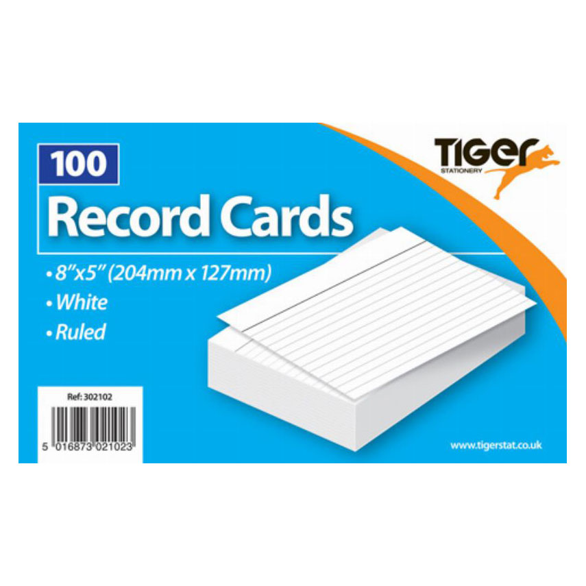 Tiger Record Cards White Ruled 8x5 inch 204x127mm 100Sh Image