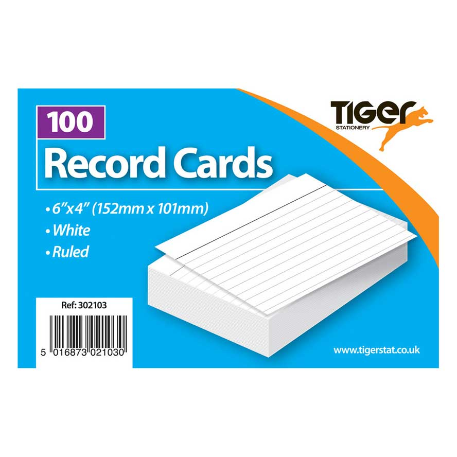 Tiger Record Cards White Ruled 6x4 inch 152x101mm 100Sh Image