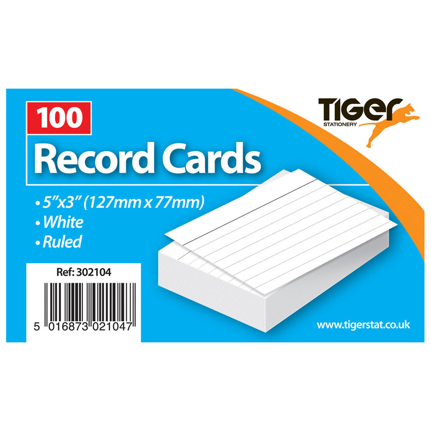 Tiger Record Cards White Ruled 5x3 inch 127x77mm 100Sh Image
