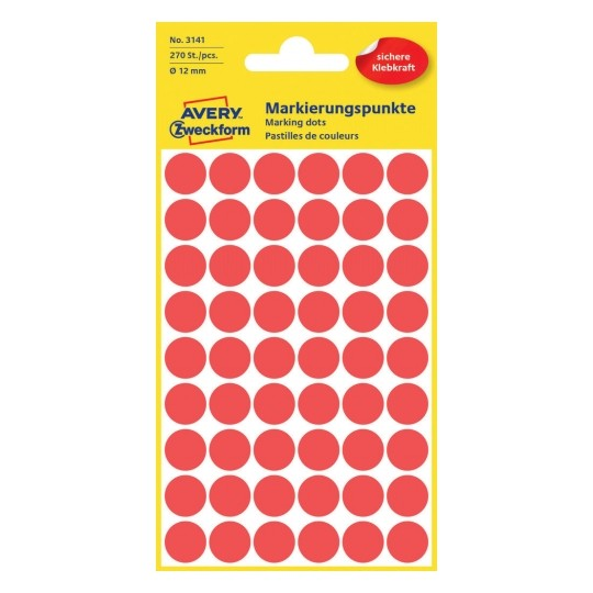 Avery Dot stickers Ø 12 mm, Red Image