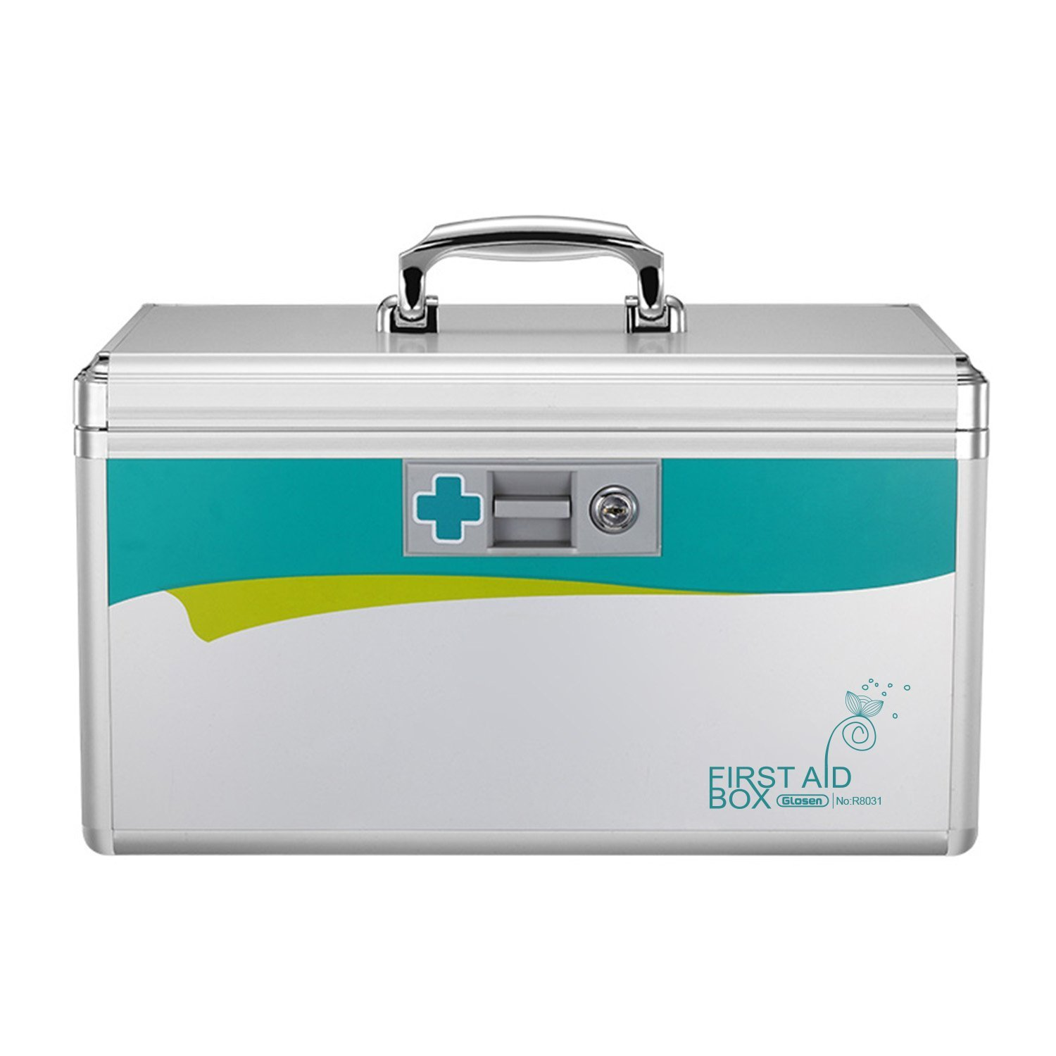 Glosen Lockable First Aid Box/Medicine Storage Box with Portable Handle Small Silver Image