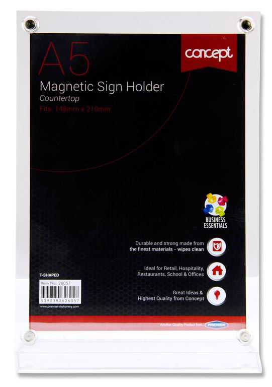 Premier Concept A5 Magnetic T-shaped Countertop Sign Holder Image