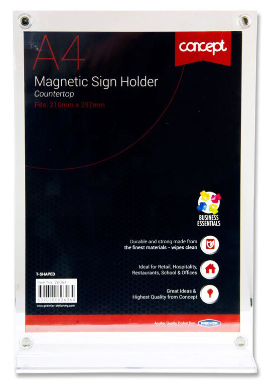 Premier Concept A4 Magnetic T-shaped Countertop Sign Holder Image