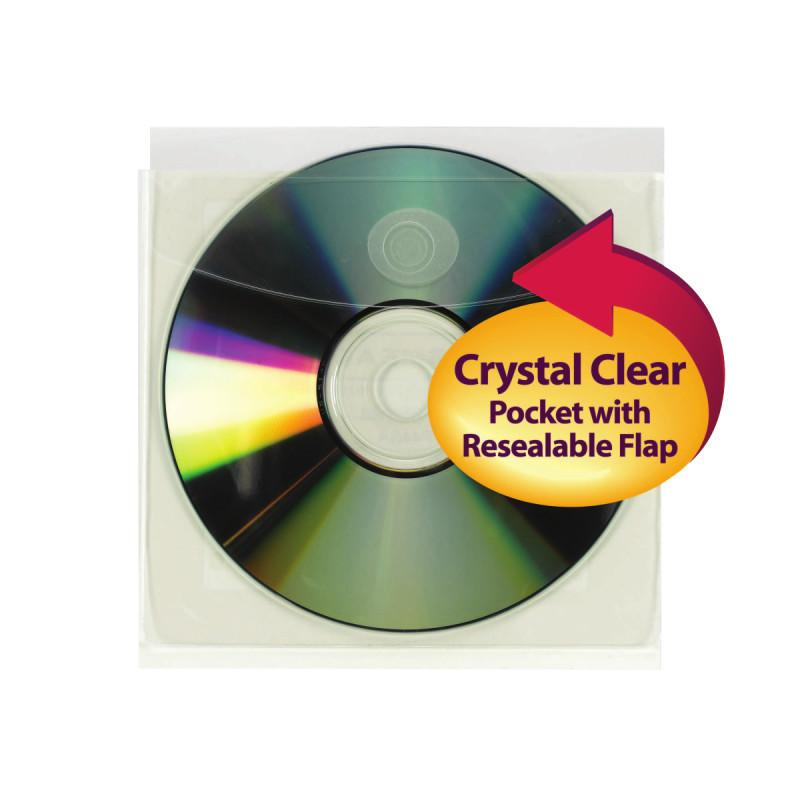 Smead Self-Adhesive Poly CD/DVD Pocket Clear Image