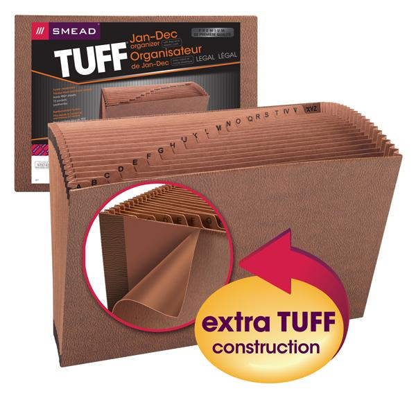 Smead TUFF® Expanding File Monthly 12 Pockets Flap and Elastic Cord Closure Redrope Printed Stock Image