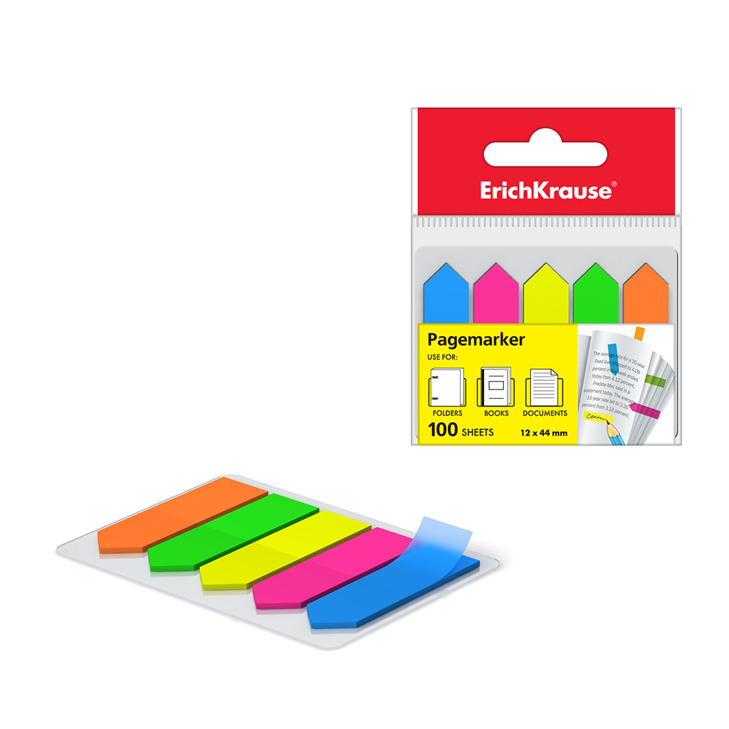 ErichKrause® Plastic Bookmarks with Glue Edge Neon Arrows 12x44 mm Image