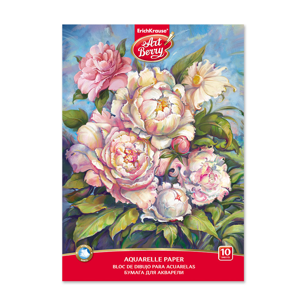 ArtBerry® A4 Sketch Book with Watercolor Paper on Peonies Image