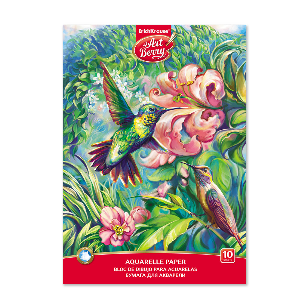 ArtBerry® A4 Sketch Book with Watercolor Paper Hummingbird Image